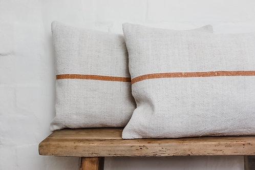 Vintage Grainsack peach/tan stripped Cushion