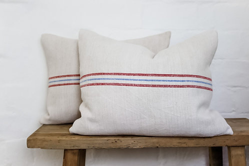 Vintage Grainsack Red & Blue Stripe cushion