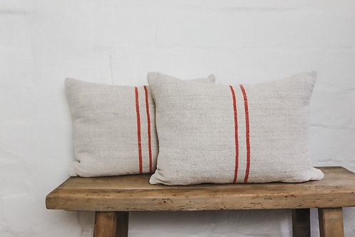 Vintage Grainsack Red Stripped Oblong cushion