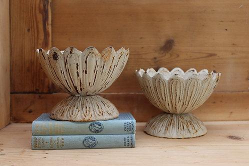 Beautiful Pair of Cast Iron Petal Urns