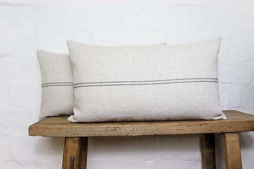 Peony & Sage Grainsack Stripe Charcoal Cushion