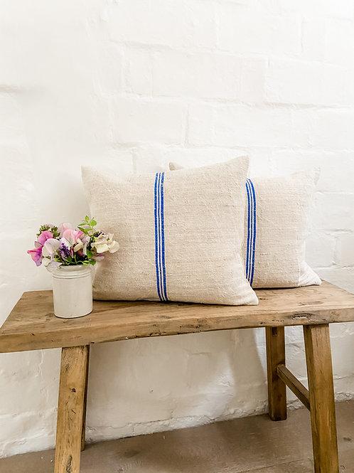 Vintage Grainsack Cornflower Blue Stripe cushion