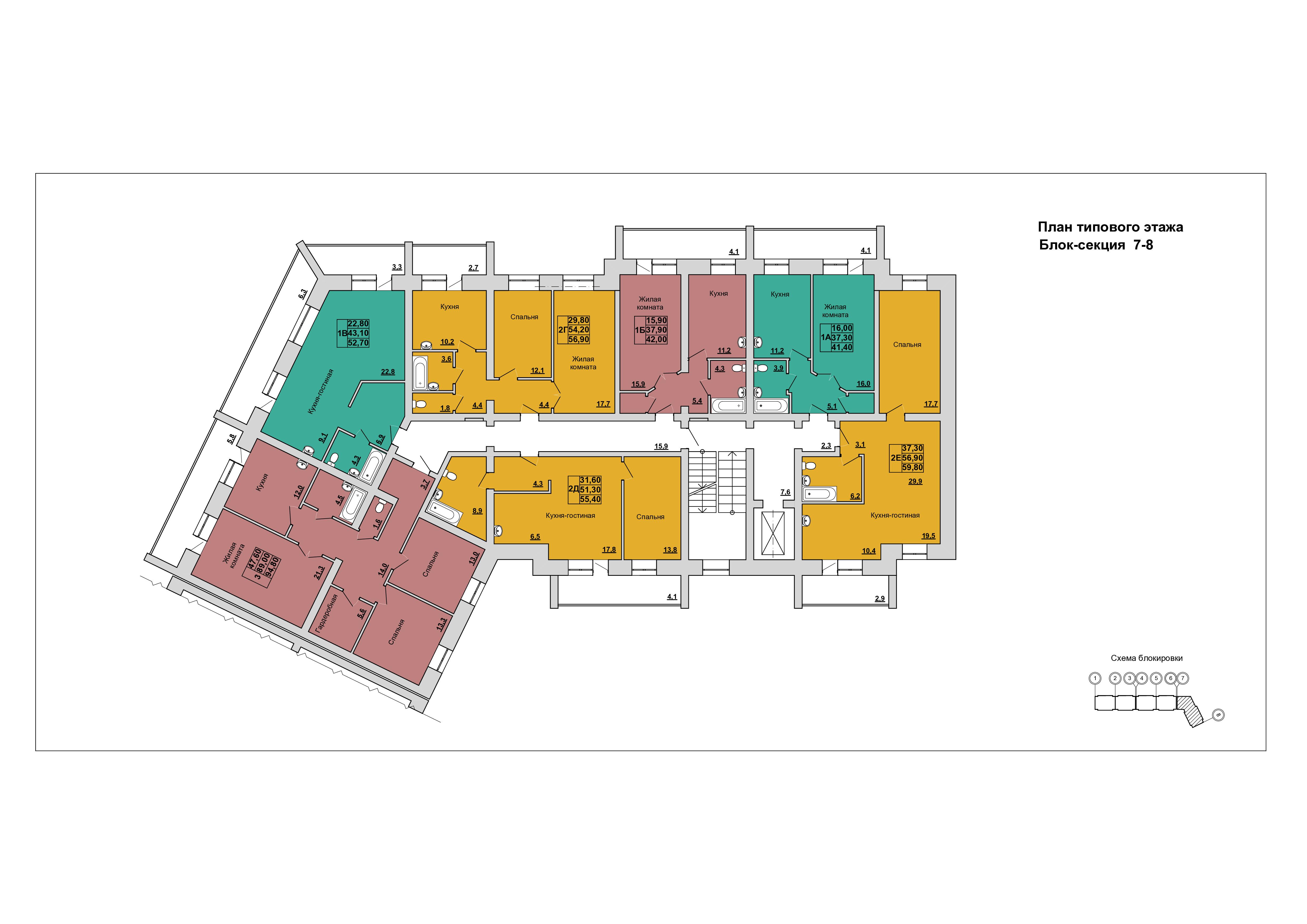 План Типового этажа.Блок-секция 7-8