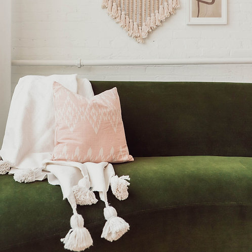 Solid White Moroccan Pom Pom Throw