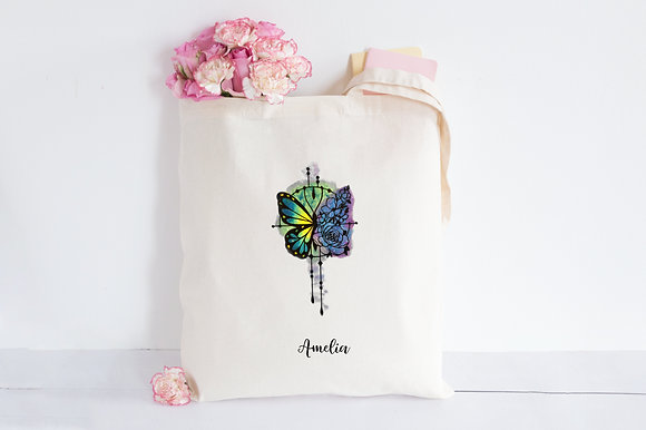 Colorful Butterfly 'n Roses | Personalised Cotton Tote Bag