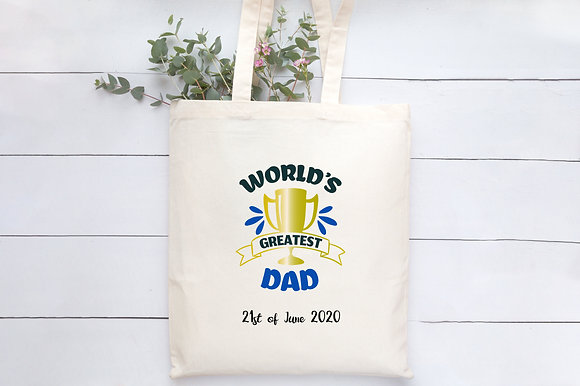 Worlds Greatest Dad | Personalised Cotton Tote Bag