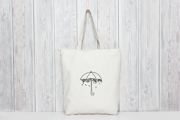Floral Umbrella | Personalised Cotton Tote Bag