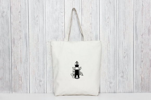 Floral Lighthouse | Personalised Cotton Tote Bag