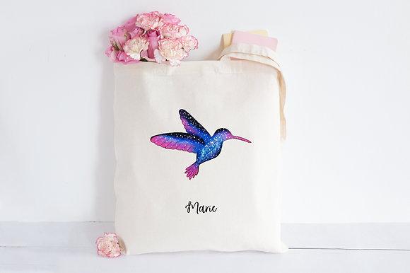 Galaxy Hummingbird | Hand painted Cotton Bag