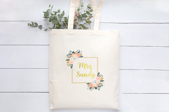 Floral Frame - Any Name | Personalised Cotton Tote Bag