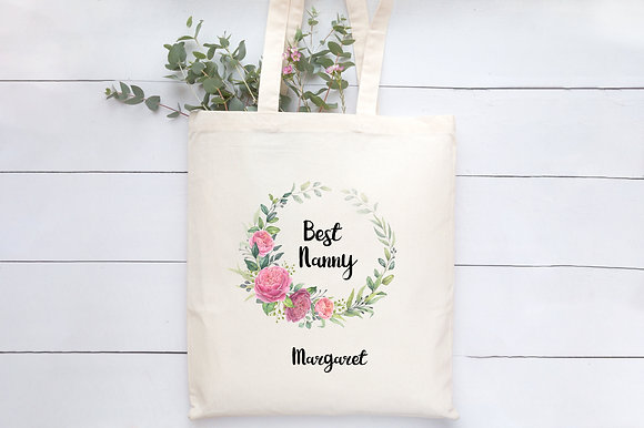 Best Nanny   Personalised Cotton Tote Bag