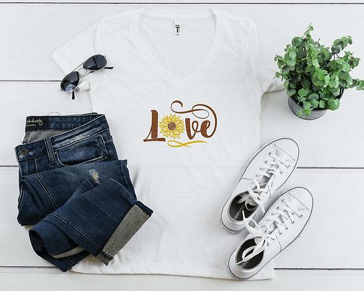 Sunflower Love | Women's Slim V-Neck T-shirt