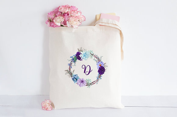 Floral Purple   Personalised Cotton Tote Bag