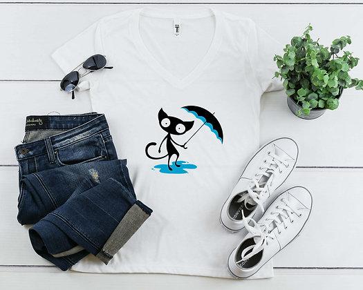 Curious Cat | Women's Slim V-Neck T-shirt