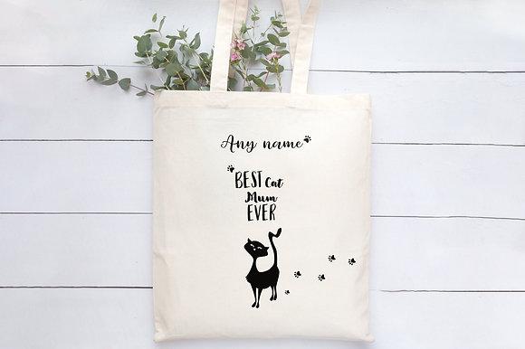 Purrfect Cat Mum   Personalised Cotton Bag