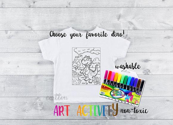 Dinosaur Art Activity   Shirt and washable Fabric Markers