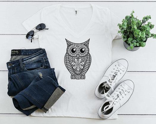 Hand carved Owl | Women's Slim V-Neck T-shirt