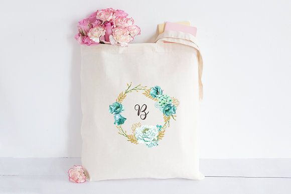 Beach Halo Floral Initial | Personalised Cotton Tote Bag