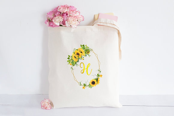 Sunflower Crown Initial | Personalised Cotton Tote Bag