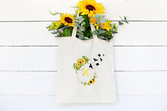 Sunflower Birds | Personalised Cotton Tote Bag