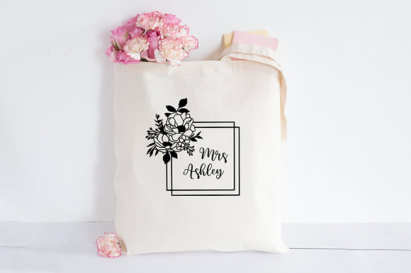 Black Roses Frame - Any Name | Personalised Cotton Tote Bag