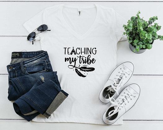 Teacher's Tribe | Women's Slim V-Neck T-shirt