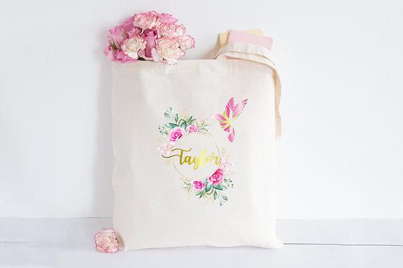 Reflective Gold & Pink Hummingbird | Personalised Cotton Tote Bag