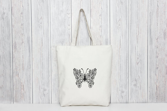 Floral Butterfly | Personalised Cotton Tote Bag