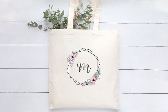 Floral Hexagons   Personalised Cotton Tote Bag
