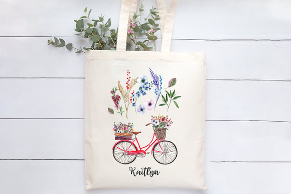 Floral Bicycle | Personalised Cotton Tote Bag
