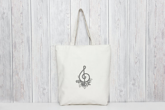 Floral Treble Clef | Personalised Cotton Tote Bag