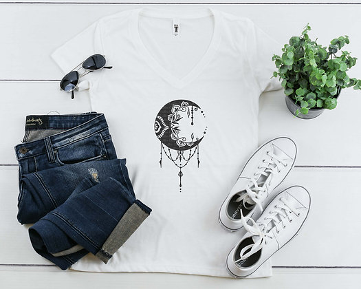 Crescent Moon | Women's Slim V-Neck T-shirt
