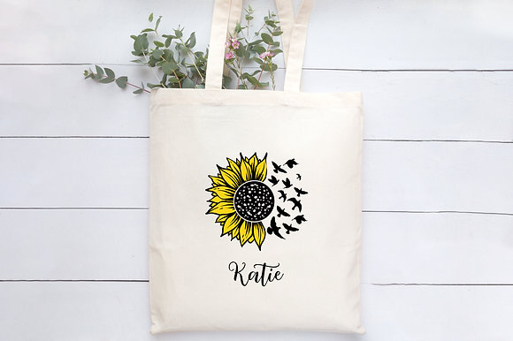 Sunflowers Monogram Collection | Personalised Cotton Tote Bag