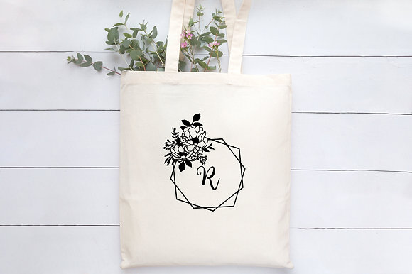 Floral Initial | Personalised Cotton Tote Bag