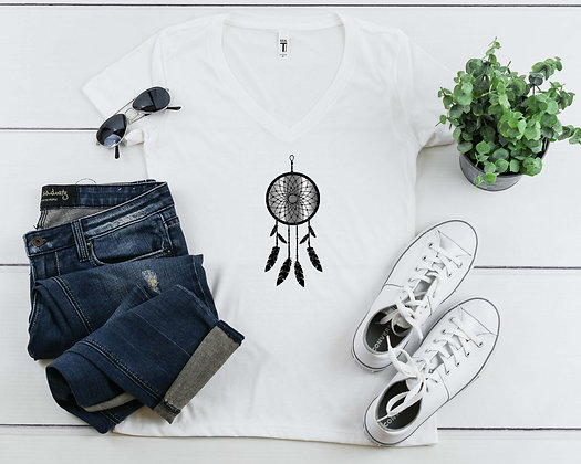 Silver Dreamcatcher | Women's Slim V-Neck T-shirt