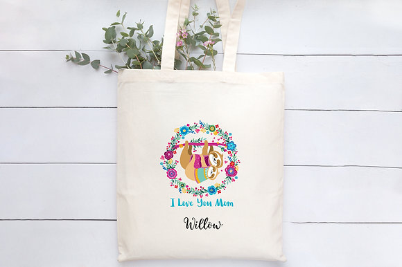 I Love You Mom   Personalised Cotton Tote Bag