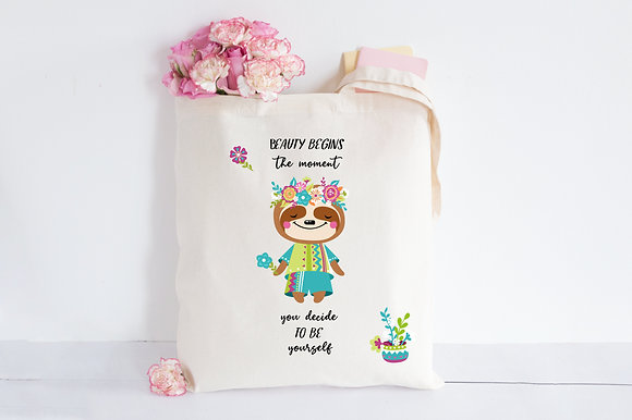 Be yourself - Sloth | Personalised Cotton Tote Bag