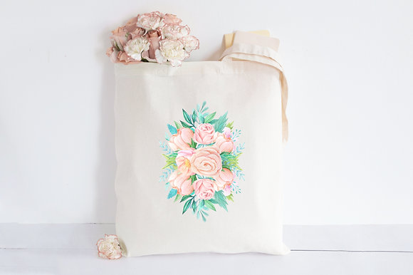 Floral Bouquet   Personalised Cotton Tote Bag
