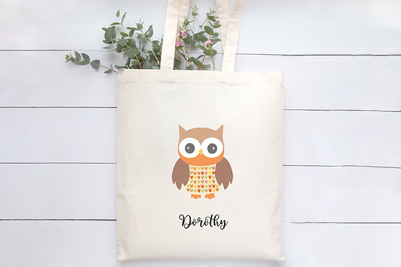 Feathery friend - Owl | Personalised Cotton Tote Bag