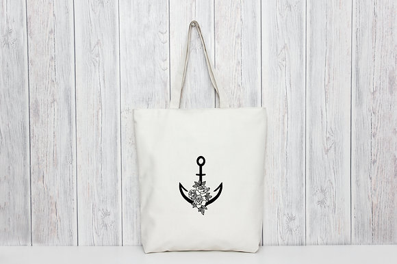 Floral Anchor | Personalised Cotton Tote Bag