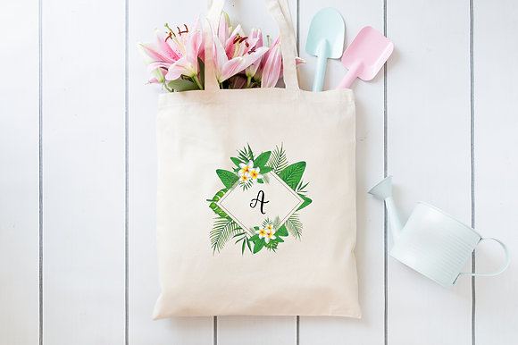 Diamond Tropical Frame | Personalised Cotton Tote Bag