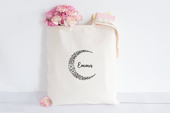 Floral Moon | Personalised Cotton Tote Bag