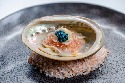 Abalone, Scampi Roe & Rose Jelly