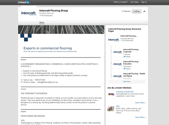 Sample Linkedin profile for a business