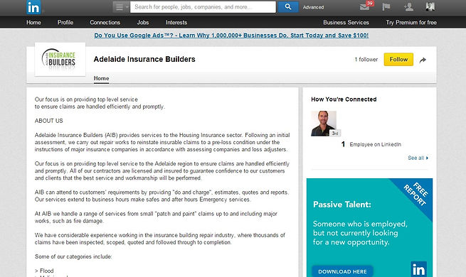 Example of a revamped Linkedin profile for a business