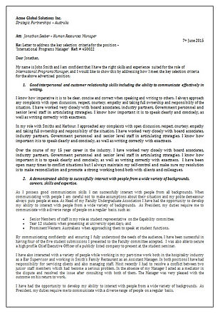 Example Criteria letter by Client Centric Executive Employment Solutions