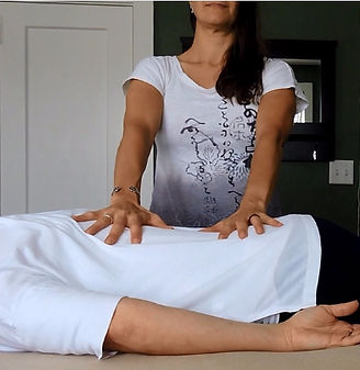 Medical qigong practitioner with their hands on the client's back