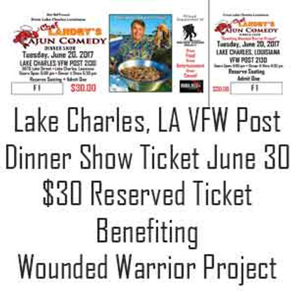 Chef Landry Dinner Show Regular Ticket Lake Charles, LA