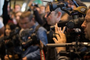 The standard format for an action involves lining up to let the media get their photo (C) Adopt a Negotiator