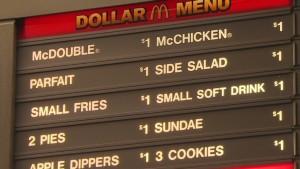 Cheap meat-centric meals at McDonalds in the US, credit: CNN http://money.cnn.com/2013/10/24/news/companies/mcdonalds-dollar-menu/